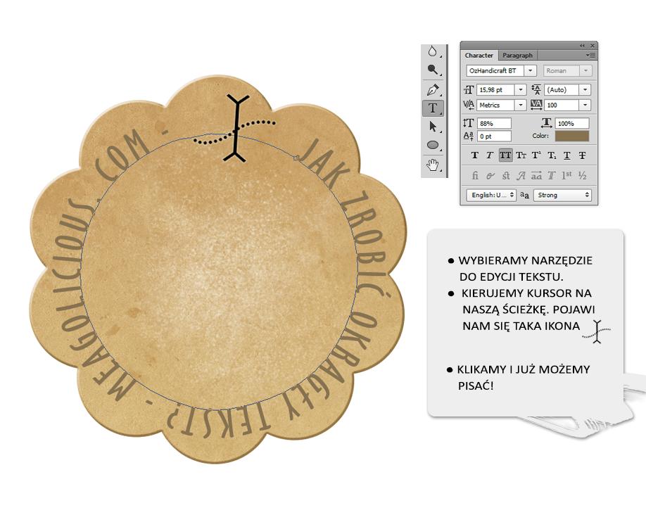 okrągły napis w photoshopie